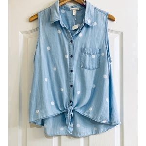 Eileen Fisher Polka Dot Chambray Tie Front Shirt